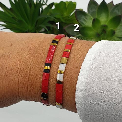 Bracelet en perles Miyuki rouge