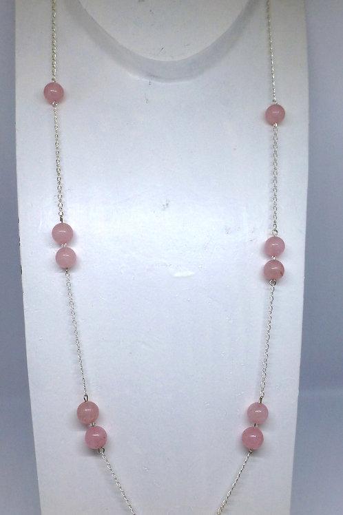 Sautoir en argent 925 et perles de quartz rose