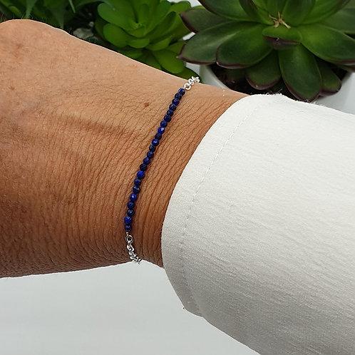 Bracelet en argent et perles de lapis lazuli
