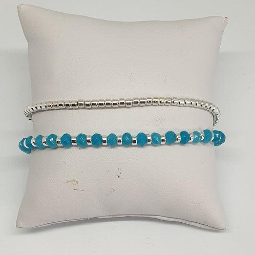 Bracelet perles d'argent et apatite