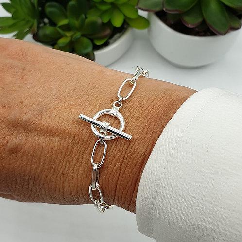 Bracelet en argent fermoir toggle