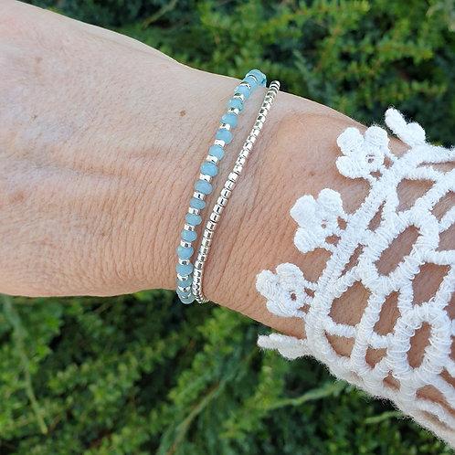 Bracelet perles en argent 925 et amazonite