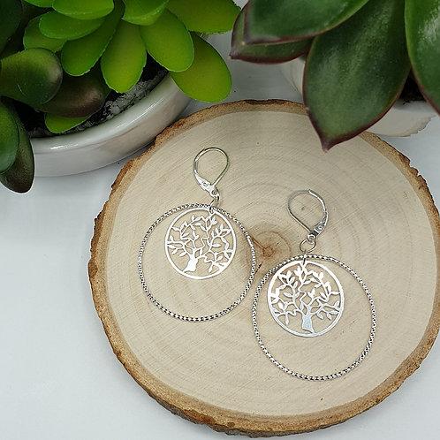 Boucles d'oreilles en argent anneau et médaille arbre de vie