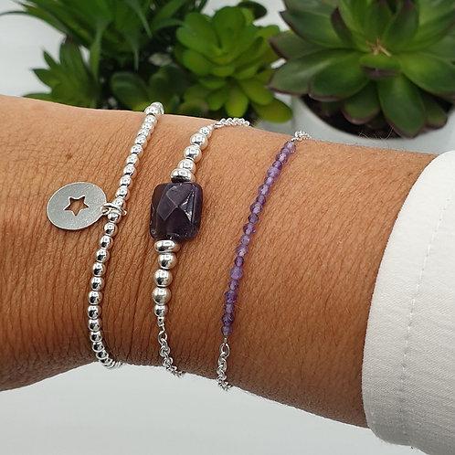 Trio de bracelet argent et améthyste