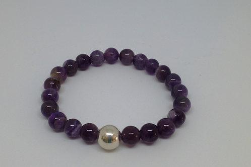 Bracelet en perles d'améthyste et argent 925