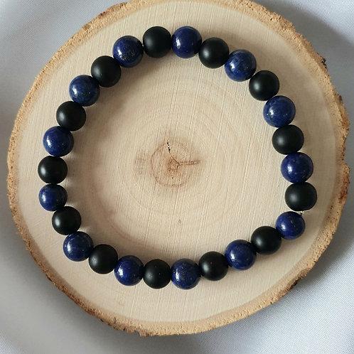 Bracelet homme lapis lazuli et obsidienne noire mate