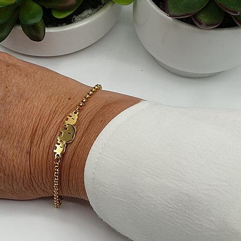 """Bracelet acier inoxydable doré ou doré rose """"éléphants"""""""
