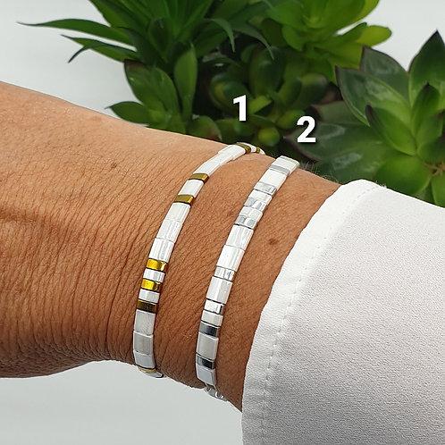 Bracelet en perles Miyuki blanc