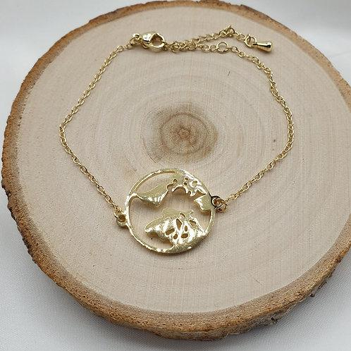 "Bracelet acier inoxydable doré ""monde"""