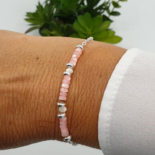 Bracelet en argent et rondelles en nacre rose