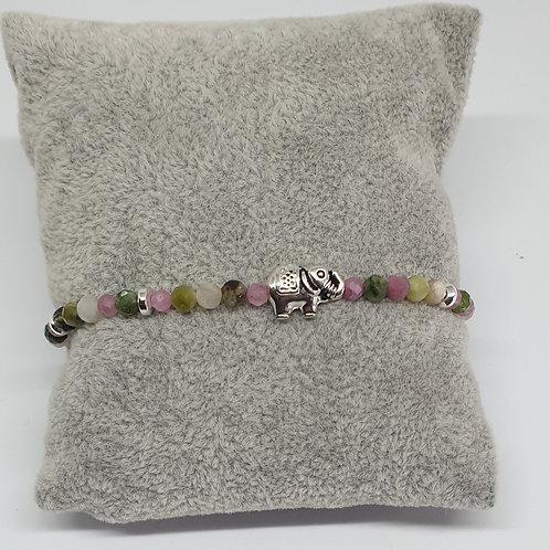 Bracelet éléphant en perles de tourmaline et argent