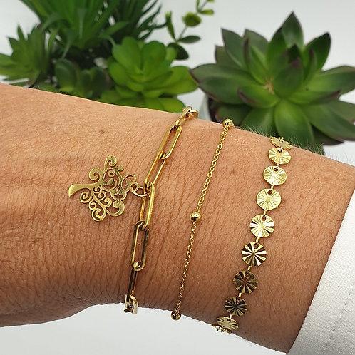 Combo de 3 bracelets en acier inoxydable doré