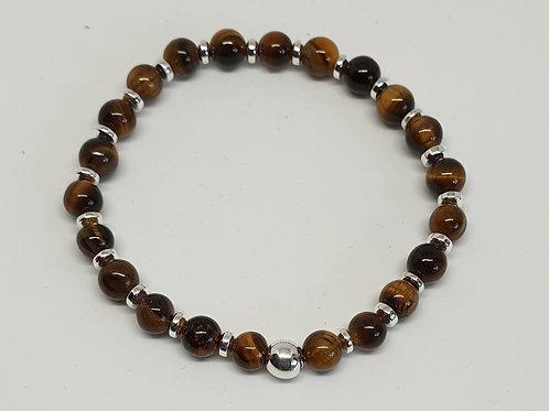 Bracelet perles oeil de tigre et argent 925