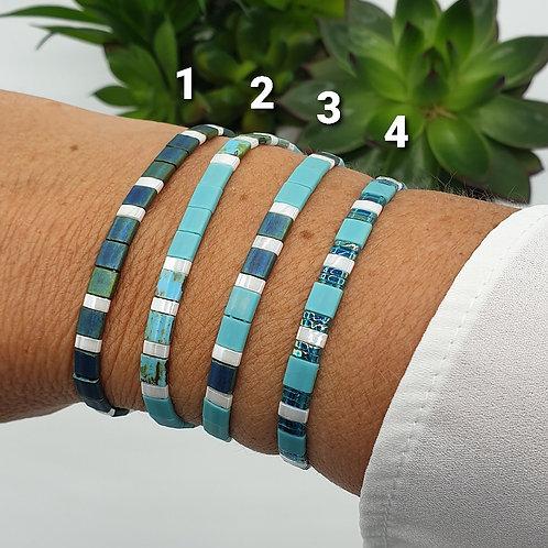 Bracelet en perles Miyuki bleu turquoise