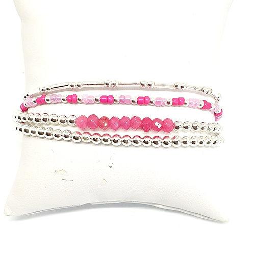 Bracelet 4 fils de perles d'argent et tourmaline