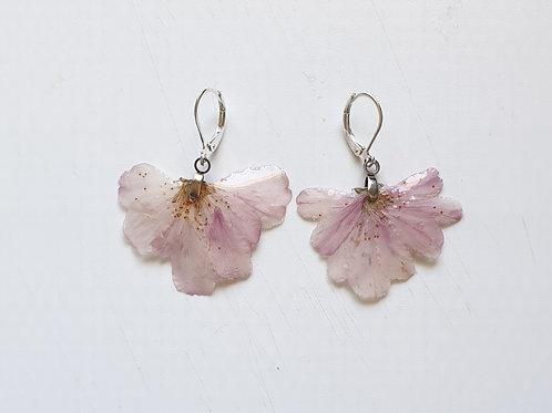 Boucles d'oreilles en argent et pétale de cerisier du japon