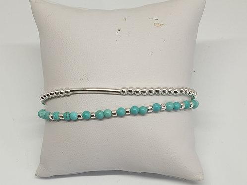 Bracelet perles d'argent et turquoise