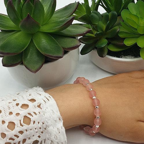 Bracelet en argent et perles de tourmaline rose