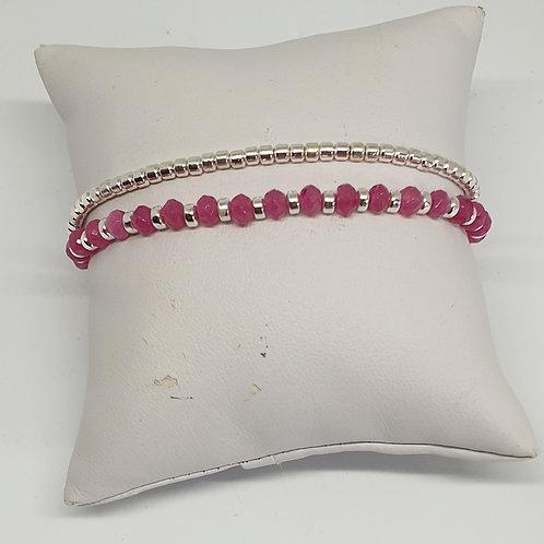 Bracelet perles d'argent et tourmaline
