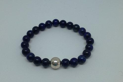 Bracelet en perles de lapis lazuli et argent 925