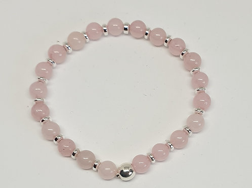 Bracelet perles quartz rose et argent 925