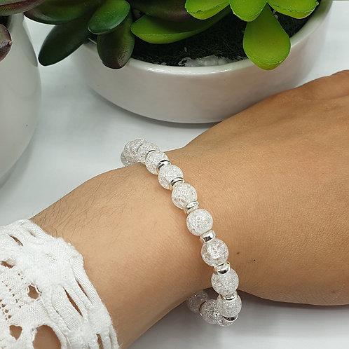 Bracelet en argent et perles de cristal de roche
