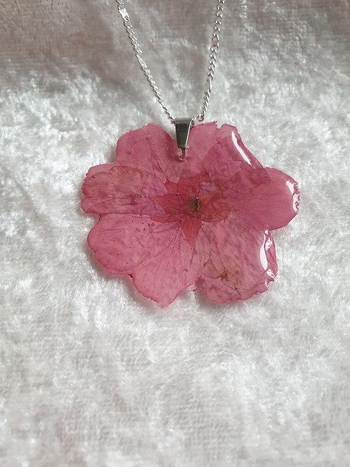 Collier argent et rose séchée