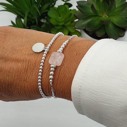 Duo de bracelets en argent et quartz rose