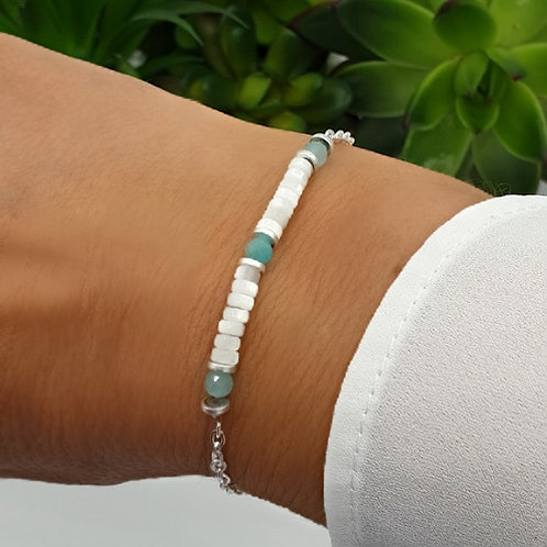 Bracelet en argent, coquillage et amazonite