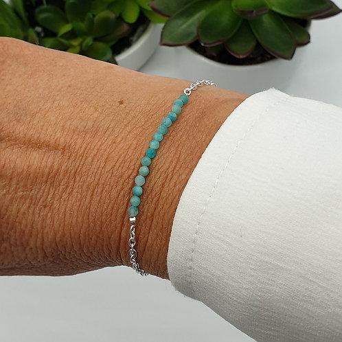Bracelet en argent et perles d'amazonite