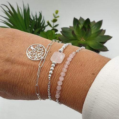 Trio de bracelet argent et quartz rose