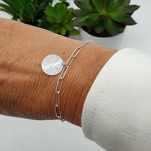 Bracelet en argent 925 médaille rayons