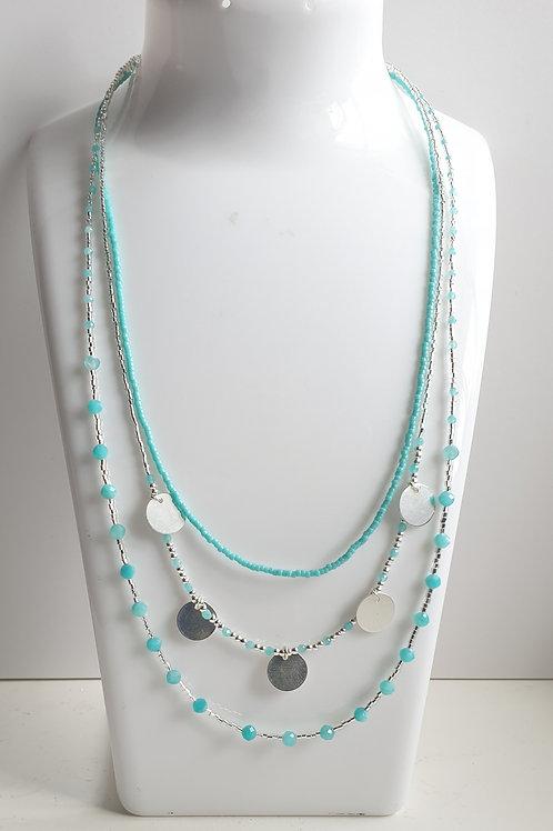 Collier 3 rangs en argent et perles d'amazonite