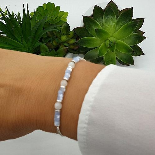Bracelet en argent, pierre naturelle et coquillage