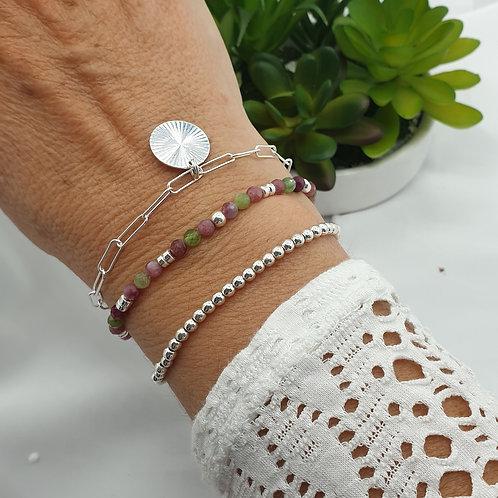 Composition de 3 bracelets en argent et tourmaline