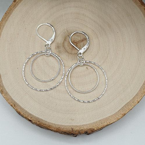 Boucles d'oreilles en argent double anneaux