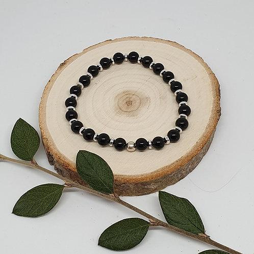 Bracelet obsidienne noire et argent 925