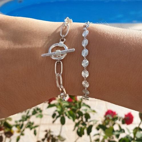 """Composition de 2 bracelets en argent """"toggle & soleils"""""""