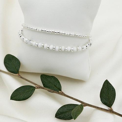 Bracelet perles d'argent et howlite