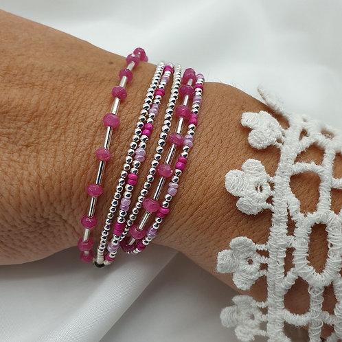 Bracelet double tours en argent 925 et perles de tourmaline