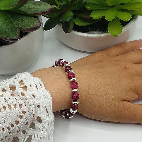 Bracelet en argent et perles d'oeil de tigre rose