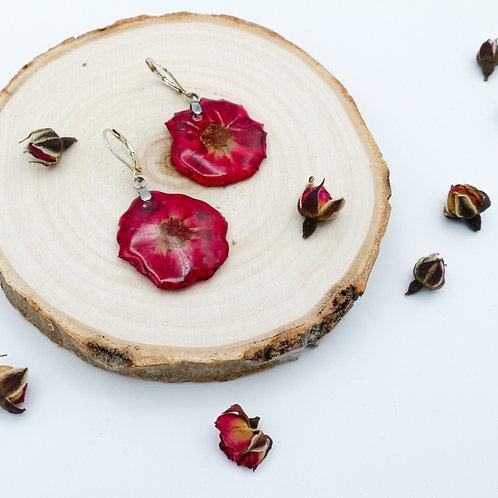 Boucles en argent et rose séchée