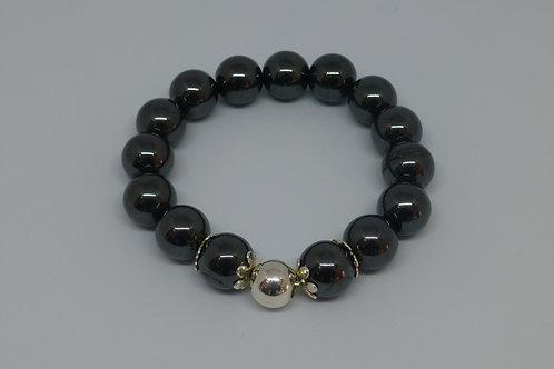 Bracelet en perles d'hématite et argent 925
