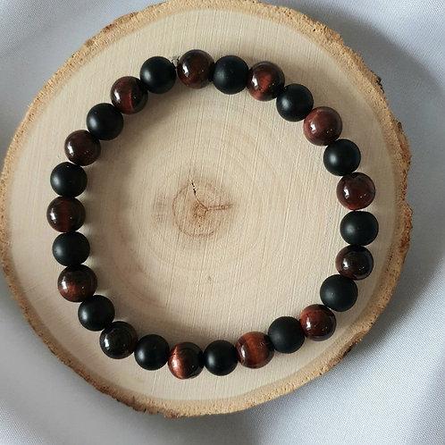 Bracelet homme oeil de tigre rouge et obsidienne noire mate