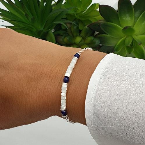 Bracelet en argent, coquillage et lapis lazuli