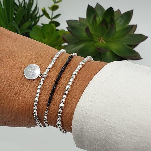 Composition de 3 bracelet argent et obsidienne