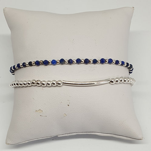 Bracelet perles d'argent et lapis lazuli