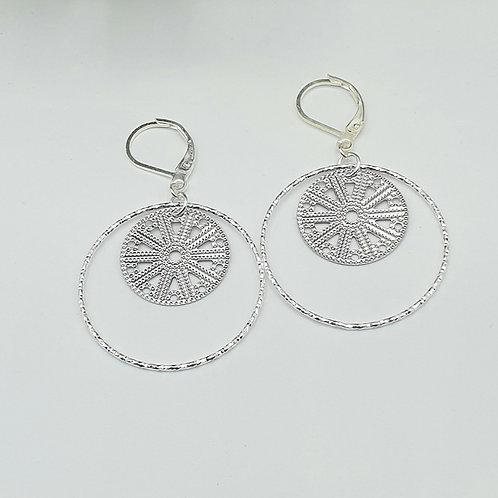 Boucles d'oreilles en argent anneau et médaille
