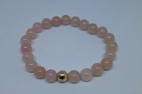 Bracelet en perles de quartz rose et argent 925