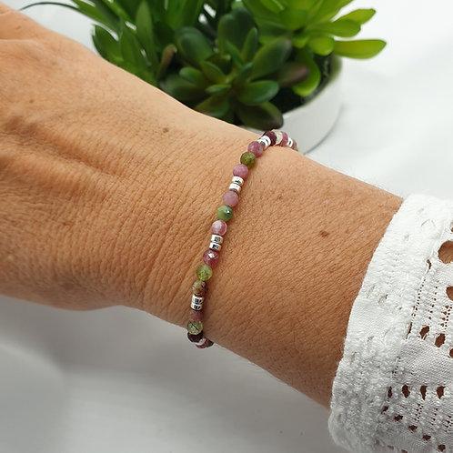 Bracelet en perles de tourmalines et argent